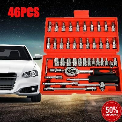 "46pcs Screwdriver Sockets 1/4"" DR Auto Car Repair Tool Ratchet Wrench Set Kit US"