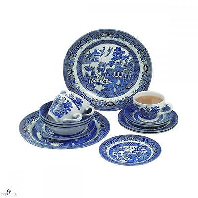 Churchill China Blue Willow 20 Pcs Dinner Set Eating Dinnerware Kitchen Home New