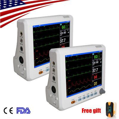 2pcs Portable Multiparameter Patient Monitor Spo2 Ecg Ekg Nibp W Power Gift