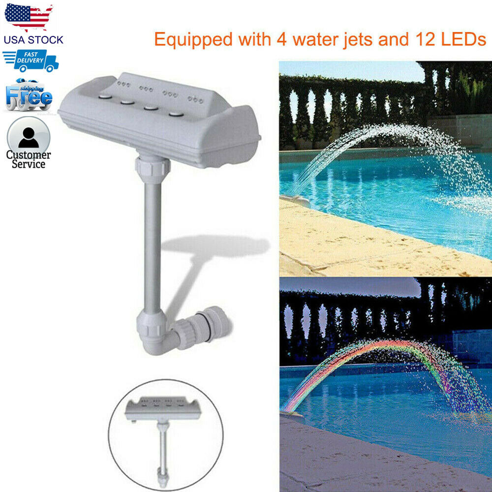 Details about Cascade Waterfall Swimming Pool Fountain Jets Colorful LED  Lights Above Ground