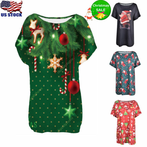 Womens Christmas Crew Neck T-Shirt Ladies Casual Loose Short