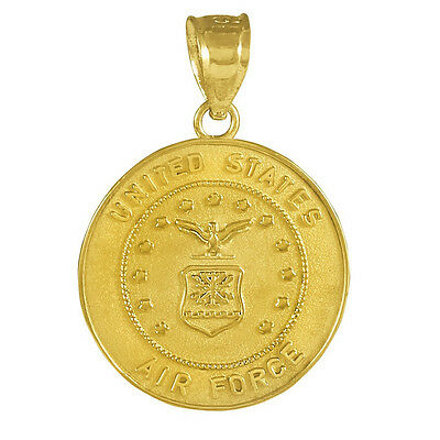 US Air Force Solid 10k 14k Yellow White Gold Coin Pendant 14k White Gold Coin