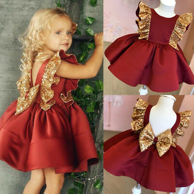 US Christmas Toddler Baby Girl Sequin Bowknot Dress Wedding Party Princess Dress