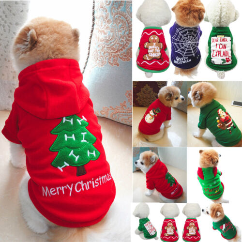 Christmas Pet Vest Dog Puppy Hoodie Sweater Xmas Warm Clothes Costume shirt coat