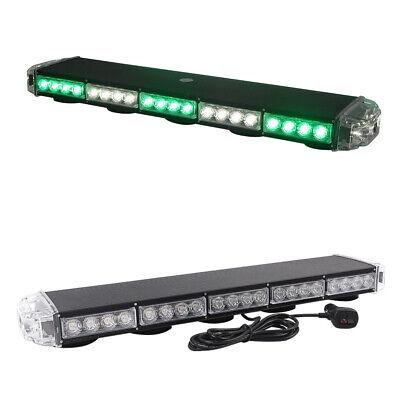 25 Green White Led Strobe Light Bar Warning Emergency Beacon Roof For Vehicles