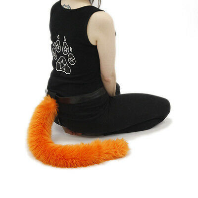 PAWSTAR Furry Kitty Tail - Cat Costume Orange Adult Pet Play Best Fluffy 3500 - Best Cat Costume