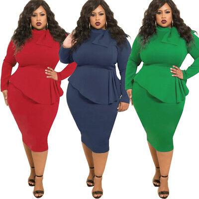 Sexy Women Long Sleeve Bowknot Clubwear Casual Plus Size Bodycon Dress XL-5XL - Plus Size Women Clubwear