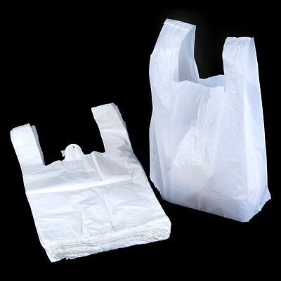 300 x Quality White Plastic Vest Carrier Bags Large 11x17x21