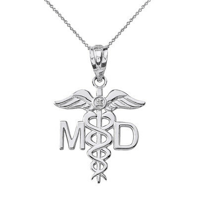 Solid 14k White Gold Diamond MD Medical Doctor Wings Pendant Necklace