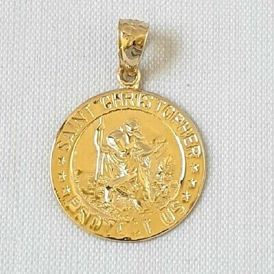 14k Yellow Gold SAINT CHRISTOPHER PROTECT US Pendant / Charm, Made In USA - $132.99