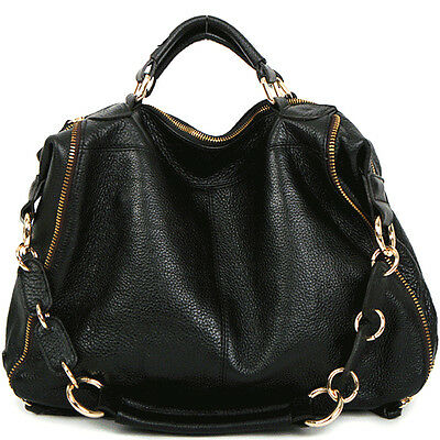 Women bag leather HandBag Shoulder tote hobo designer purse black ...