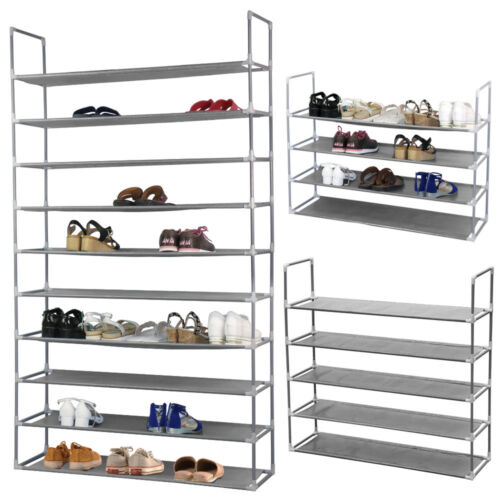 10 Tier 50 Pairs Shoe Rack Storage Organizer Tower Free Stan