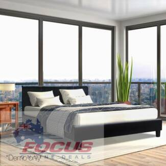 Double PVC Leather Bed Frame Black