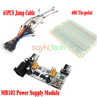 Mb102 Mini Usb Power Supply Module Solderless Breadboard 65pcs Jump Cable Wires