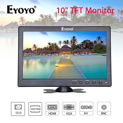 10 Inch Monitor Display BNC AV VGA HDMI Video 130 Degree w/ Speaker For CCD DVR