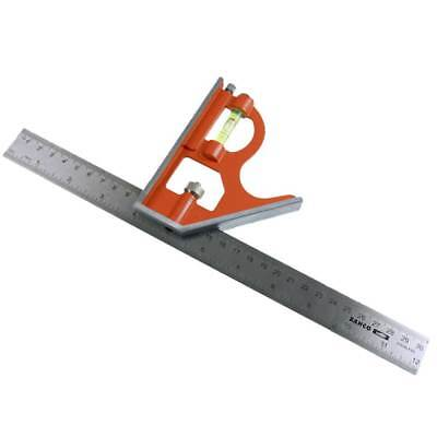 "Bahco Combination Set Square Stainless Steel Ruler CS300 12"" 300mm Spirit Level"