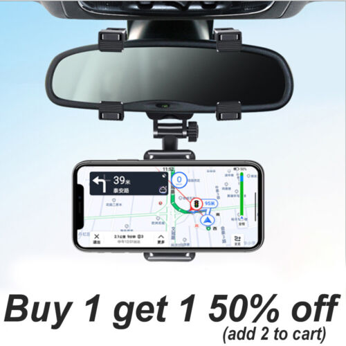 Universal 360 Rotation Car Rear View Mirror Mount Stand GPS Cell Phone Holder US