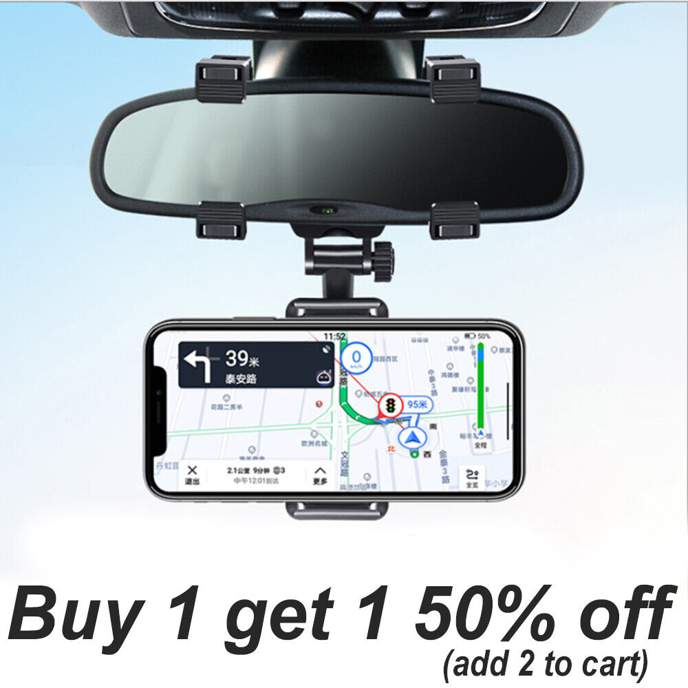 Universal 360 Rotation Car Rear View Mirror Mount Stand GPS