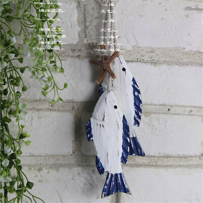 Wooden Hanging 2Pcs Fish Coastal Village Handicrafts Nautical Wall Decor Wood