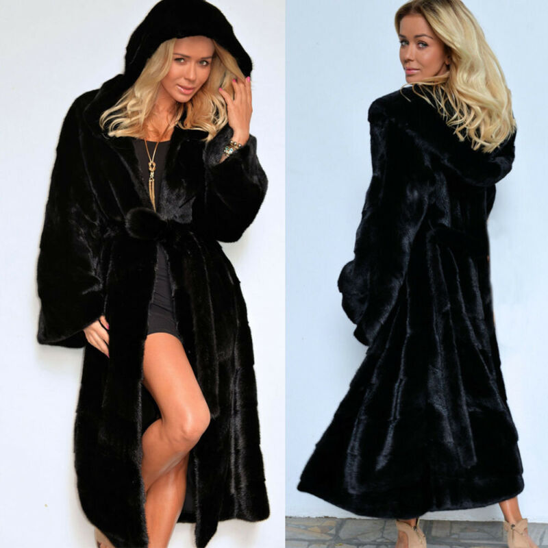 Women's Thicken Faux Fur Coat Parka Jacket Long Trench Winte