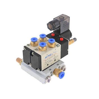 Solenoid Valve Dc 12v 2 Position 5 Way Pneumatic 4v210-08 W Base 1pc