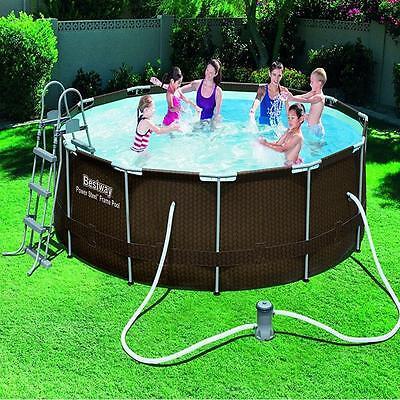Rattan effect Swimming Pool Set Filter Pump Ladder Garden Steel Frame Round 12ft