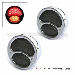 Pair Of Chrome Vintage Style Integrated LED Stop + Tail + Turn Signals Smoked L