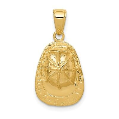 14K Yellow Gold 3-D Firefighter Hat Charm Pendant 0.55 Inch