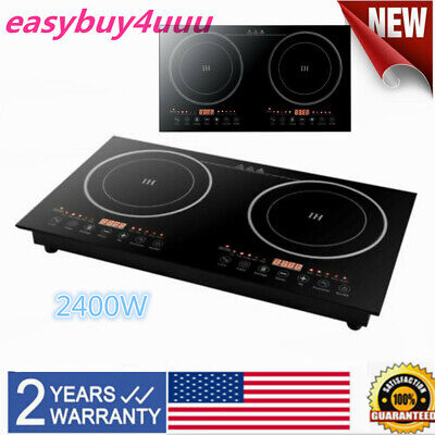 2400W Portable Induction Cooktop Countertop Dual Cooker Burner Stove Hot Plate