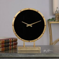 Aldo Gold and Black Table Clock Uttermost 06433