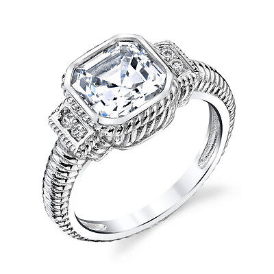 Asscher Cubic Zirconia Ring - Sterling Silver Bridal CZ Engagement Wedding Ring Cubic Zirconia Asscher Cut
