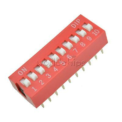 10pcs Red 2.54mm Pitch 10 Position Way 10-bit Slide Type Dip Switch Module