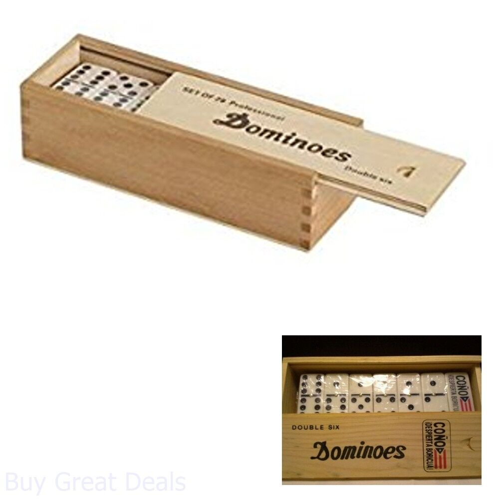 Double Six Professional Dominoes with Brass Spinner in Wooden Case 28 Piece New