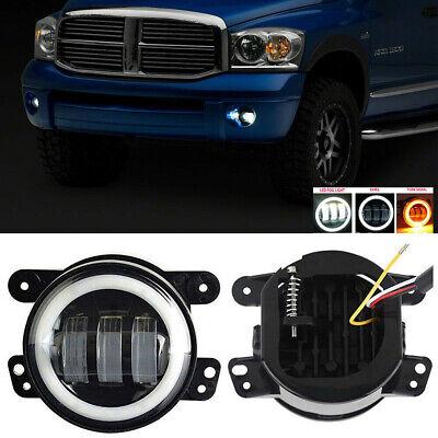 For 02-08 Dodge Ram 1500 Pickup LED Halo Projector Front Bumper Fog Lights Lamps