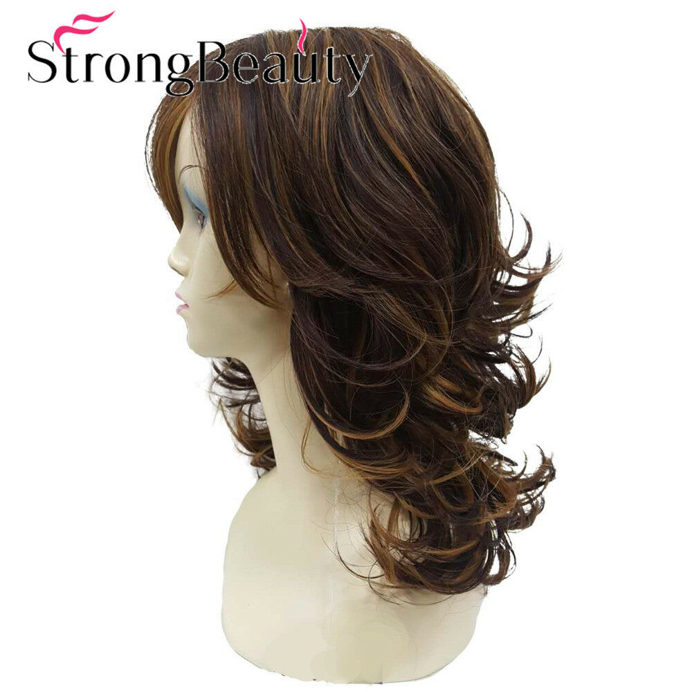 Auburn Layered Medium Curly Hairstyles For Thick Hair Synthetic Full  Women's Wig | eBay