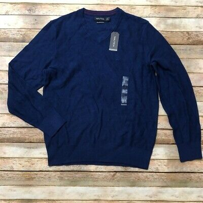 Nautica Mens Pima Cotton Blue V Neck Pullover Sweater M Textured