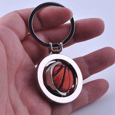 Sports Rotating Basketball Keyring Fob Ball Ring Key Key Chain