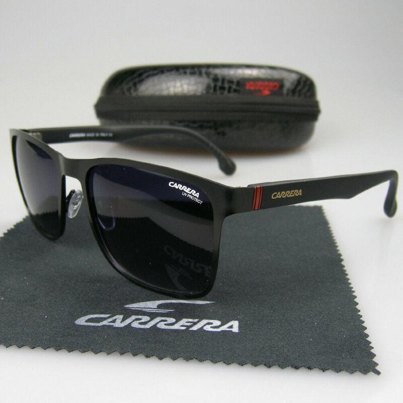 Men Women Retro Sunglasses Square Matte Black Frame Metal Carrera Glasses XPD90