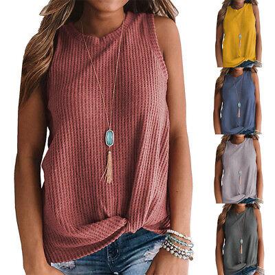 Women's Casual Tank Tops Blouse Sleeveless Cute Twist Knot Waffle Knit Shirts Super Braid Knots