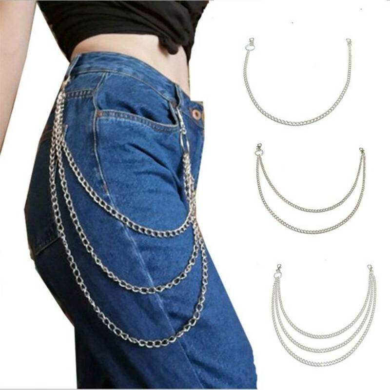 Punk 1/2/3 Layer Pants Chain Gothic Trousers Chain Jean Wall