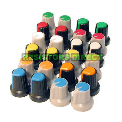 24pcs Knobs Assortment Kit For 6mm 18 Teeth Shaft Pots 12 Colors Usa R43