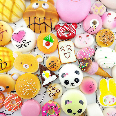 20Pcs Mini Random Squishy Soft Panda Bread Cake Buns Phone Straps Cute Food Toys
