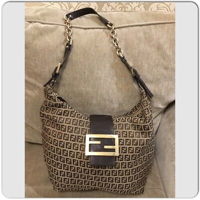 Authentic Fendi Zucca Mama Bag Leather chain shoul