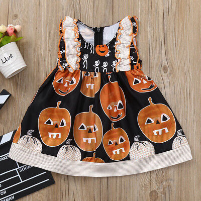 Infant Toddler Baby Girls Pumpkin Print Ruched Dresses Halloween Outfits Clothes](Baby Pumpkin Outfit)