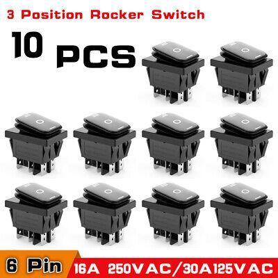 10x Waterproof 3-position Rocker Switch Onoffon 6-pin Dpdt Ac 10a250v Black