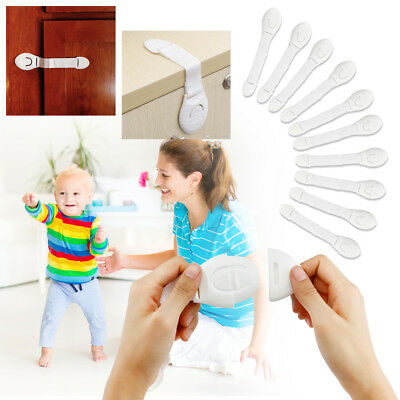 For Child Cabinet Safety Lock Kid Door Drawers Refrigerator Plastic Lock 10pcs for sale  Shipping to India