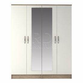 Classic 4 door mirrored wardrobe oak and white