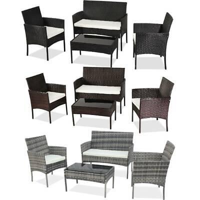 Garden Furniture - Garden 4 Piece Rattan Wicker Furniture Set Table Sofa Black/Brown/Grey Patio UK