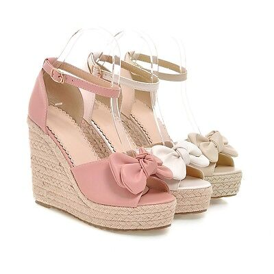 Womens Bowknot Platform Wedge Heel Ankle Strap Creeper New Summer Sandals Shoes