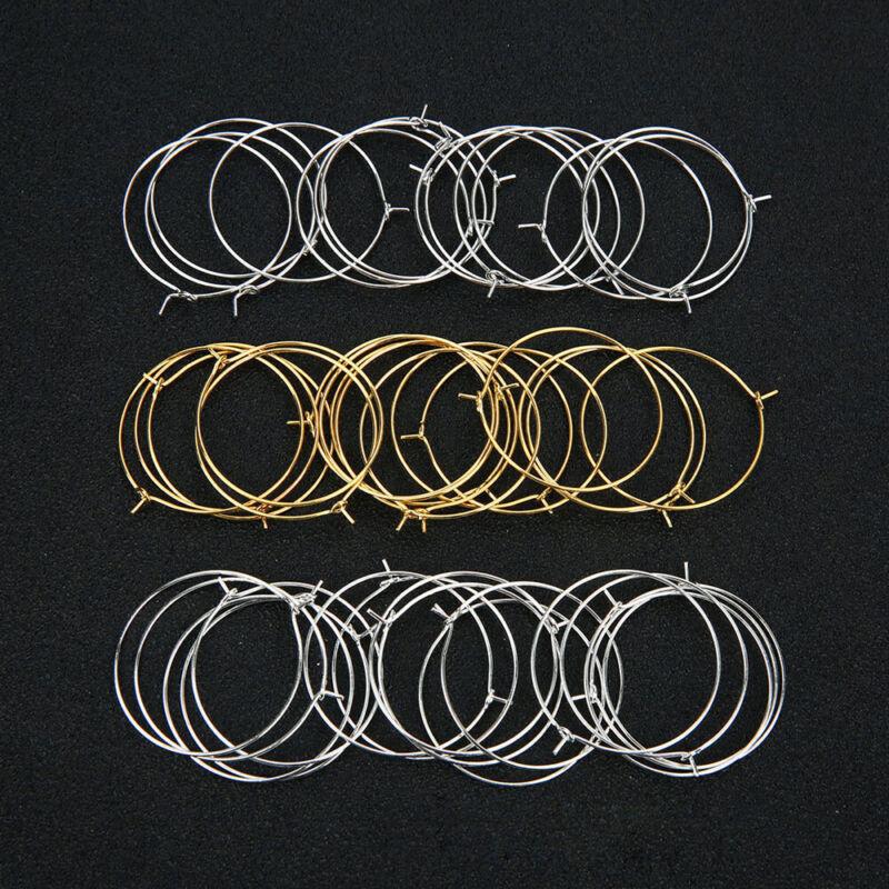 50pcs Silver Gold Hoops Big Circle Earrings For Handmade Jew